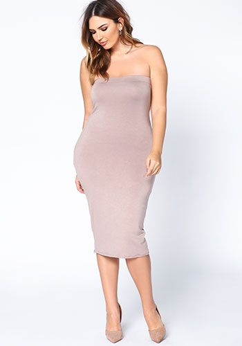 Plus Size Mocha Strapless Midi Knit Dress Debshops This Just