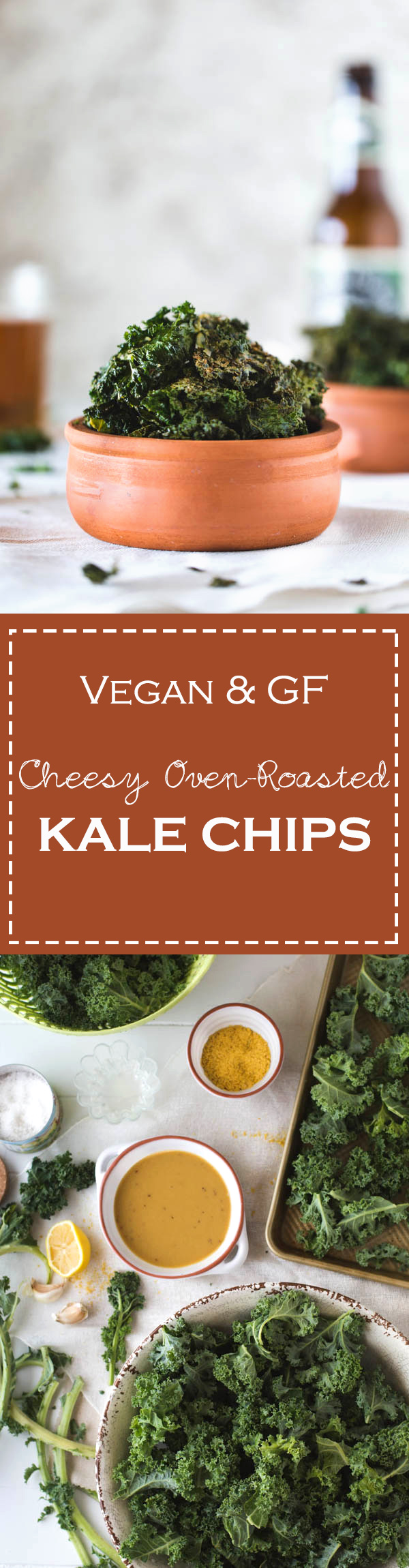 Vegan & GF Cheesy Oven Roasted Kale Chips made with a tahini and nutritional yeast dressing. A healthy snack that you can make for your family.