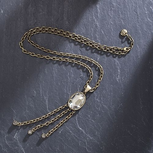 Ami And Marie-Eve's Crystal & Brass Tassel Necklace   from Uno Alla Volta on shop.CatalogSpree.com, your personal digital mall.