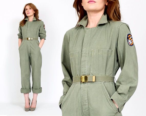 Best vintage 60s military coveralls jumpsuit. Muted light sage green cotton fabric with the perfect distressing throughout. etsy