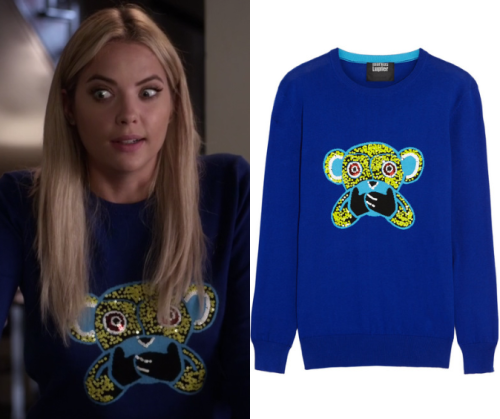 "Hanna wore this blue sweater with a sequined monkey motif in ""The Gloves Are On"""
