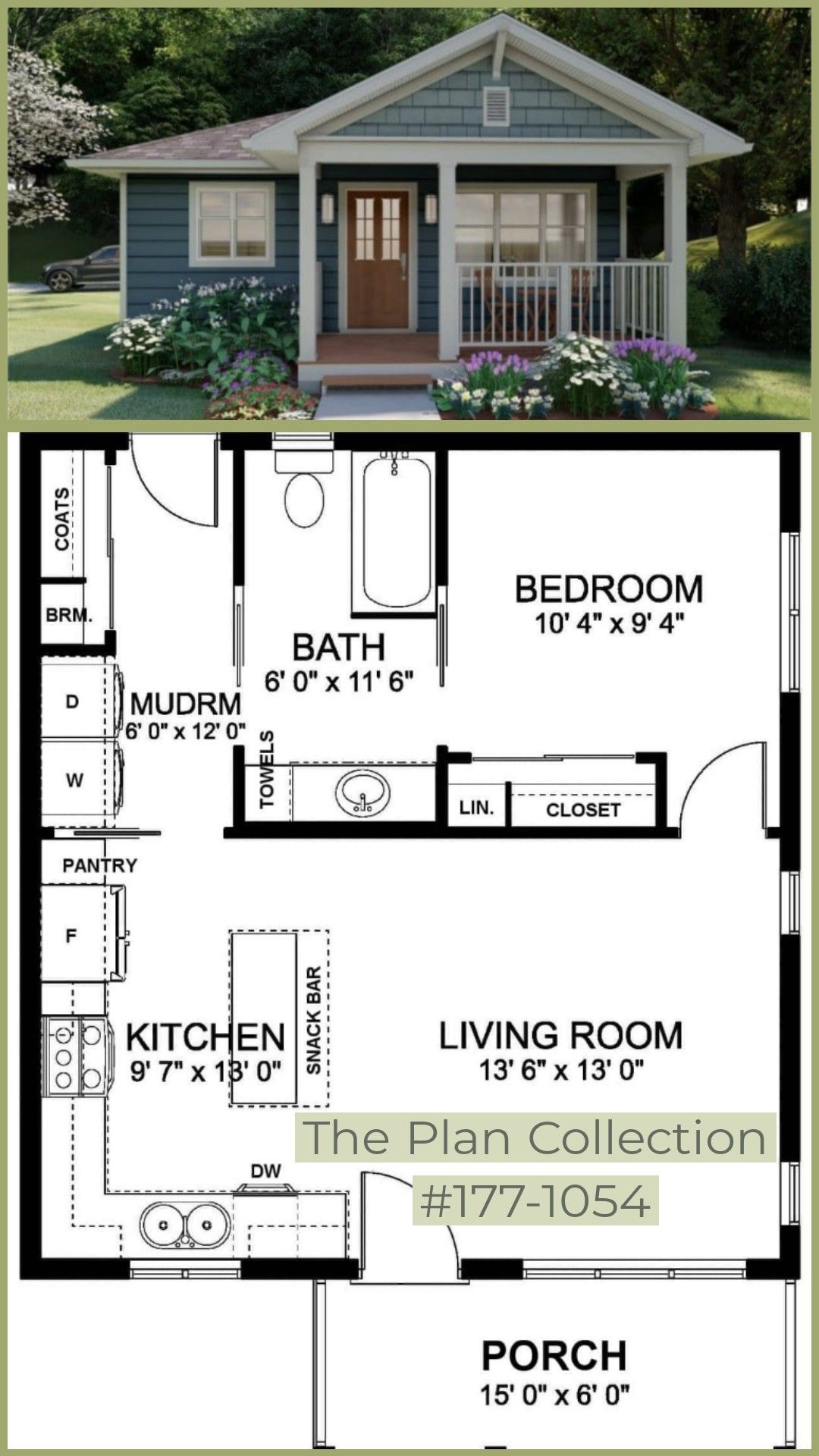 Solid 524 Square Foot Option Mudroom To The Bedroom Could Be Functional In Providing Privacy Sims House Plans Small House Floor Plans Small House