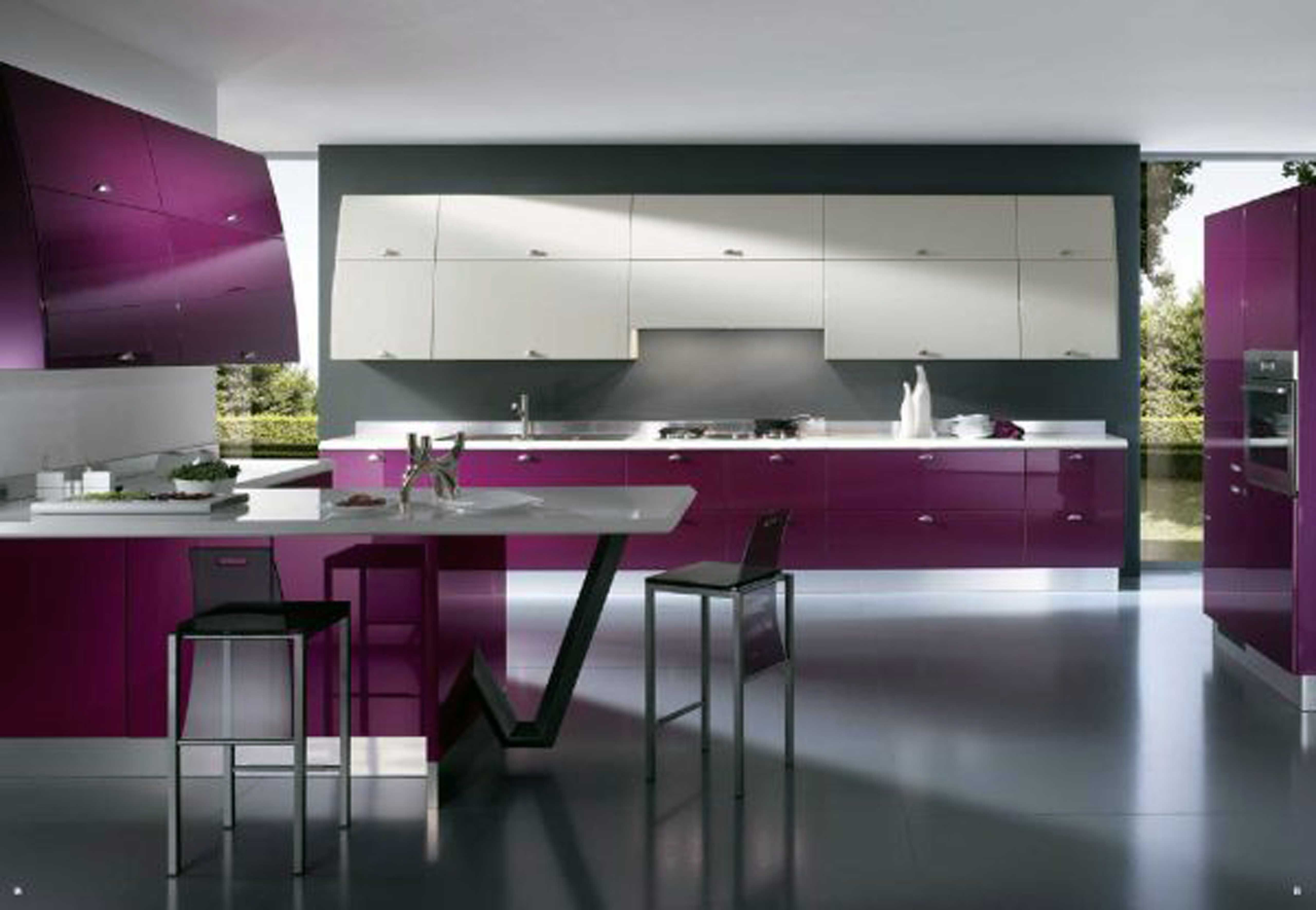 Innovative Gray Kitchen Ideas innovative kitchen ideas interesting the most innovative kitchen Modern Kitchen Offers Refined With Innovative Space Solutions With Grey Wall Violet Cabinet Oven Table Stove