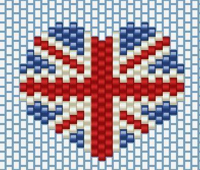 British flag miyuki free pattern miyuki db beads brick stitch peyote stitch patterns - Dessiner le drapeau anglais ...