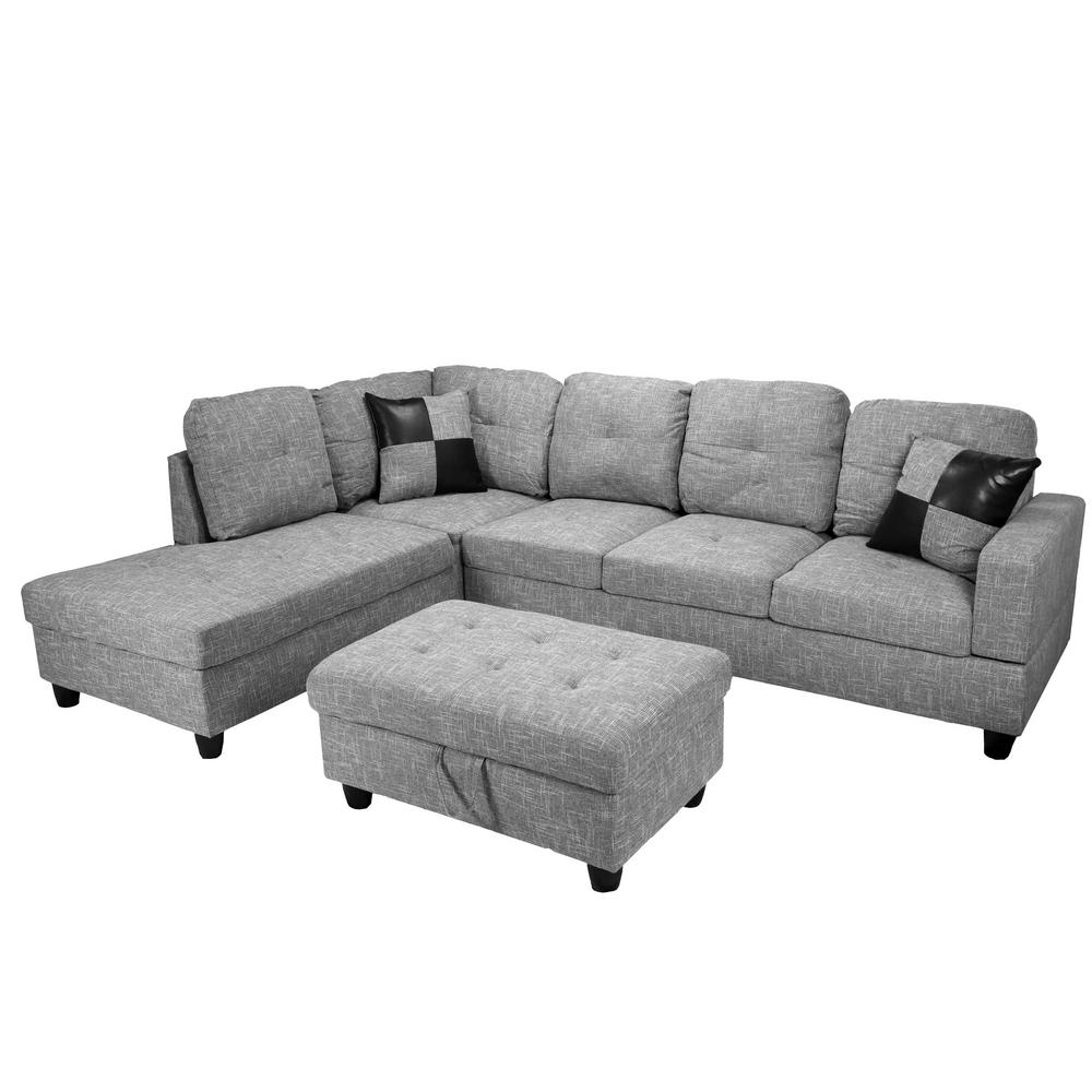 Fabulous Star Home Living Gray Left Chaise Sectional With Storage Machost Co Dining Chair Design Ideas Machostcouk