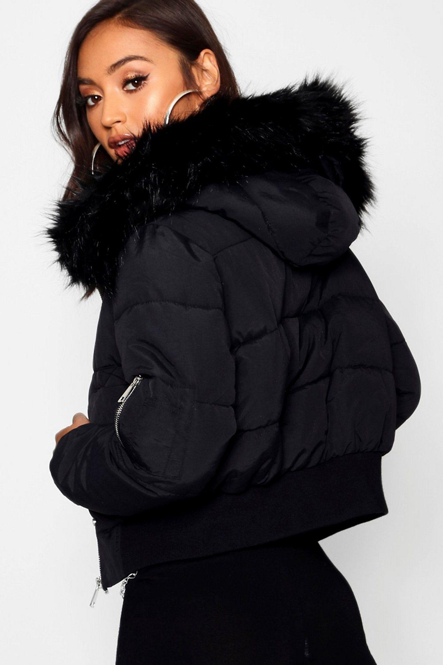 Petite Luxe Faux Fur Hood Sporty Cropped Coat Boohoo Faux Fur Hood Puffer Coat With Fur Cropped Coat [ 2181 x 1454 Pixel ]