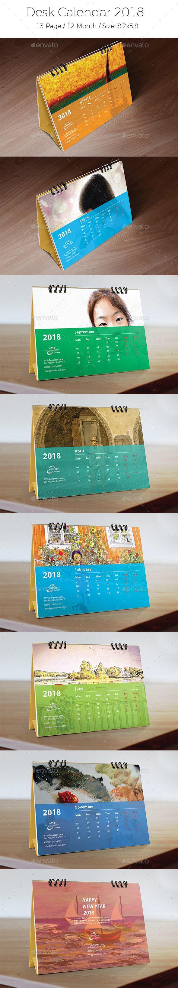 Desk Calendar 2018 Template Vector Eps Ai Illustrator Calendar