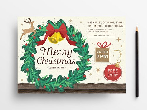 Photo of Holiday Event Flyer Layout with Wreath Illustration – Flyer Templates – Free PSD…