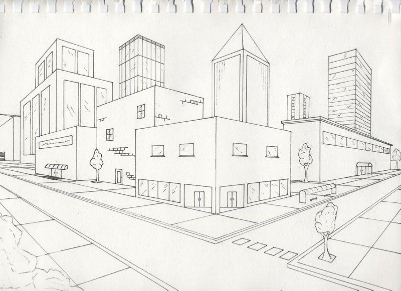 Рисунок города карандашом для детей легкий