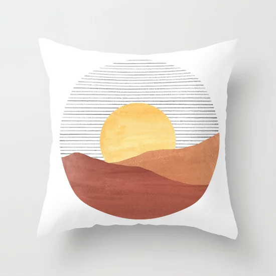 Abstract Boho Sunrise Terracotta Desert Throw Pillow By Whalesway Society6 Throw Pillows Abstract Throw Pillow Pillows