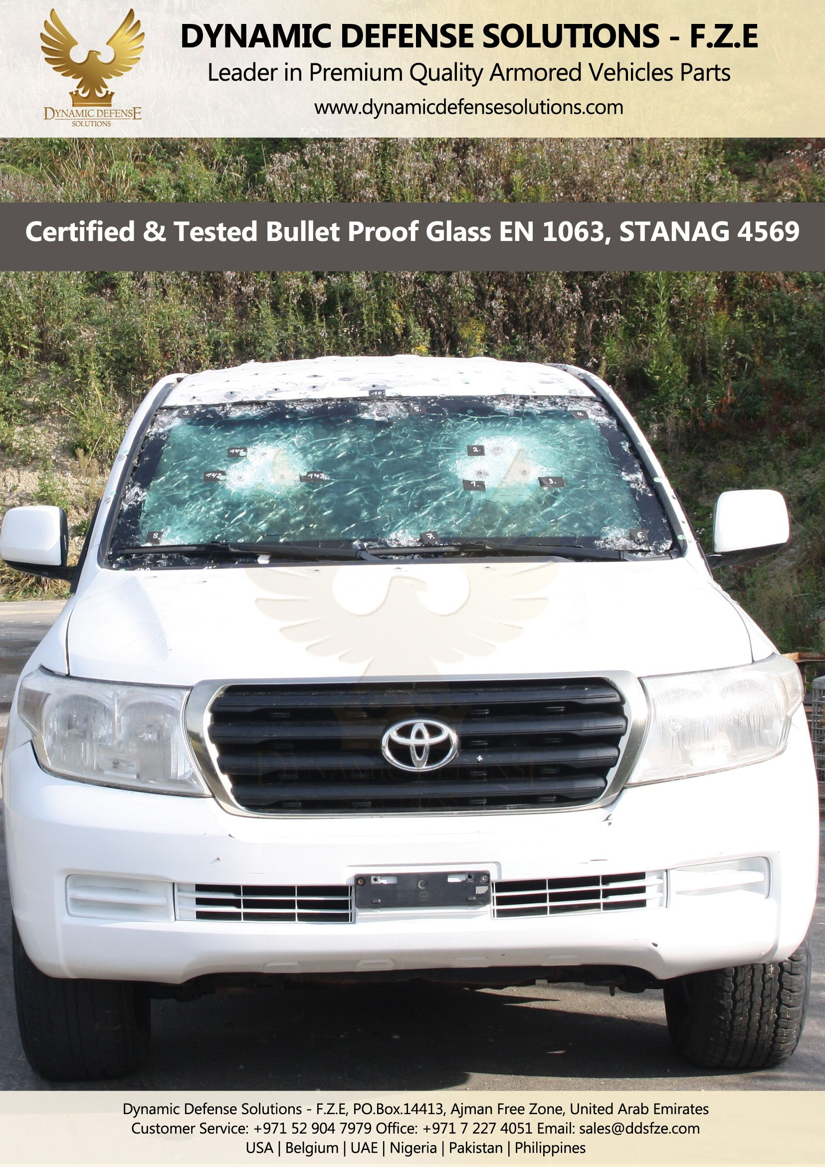 Bullet Proof Armored Glass B6 B7 STANAG 4569 Toyota Land Cruiser