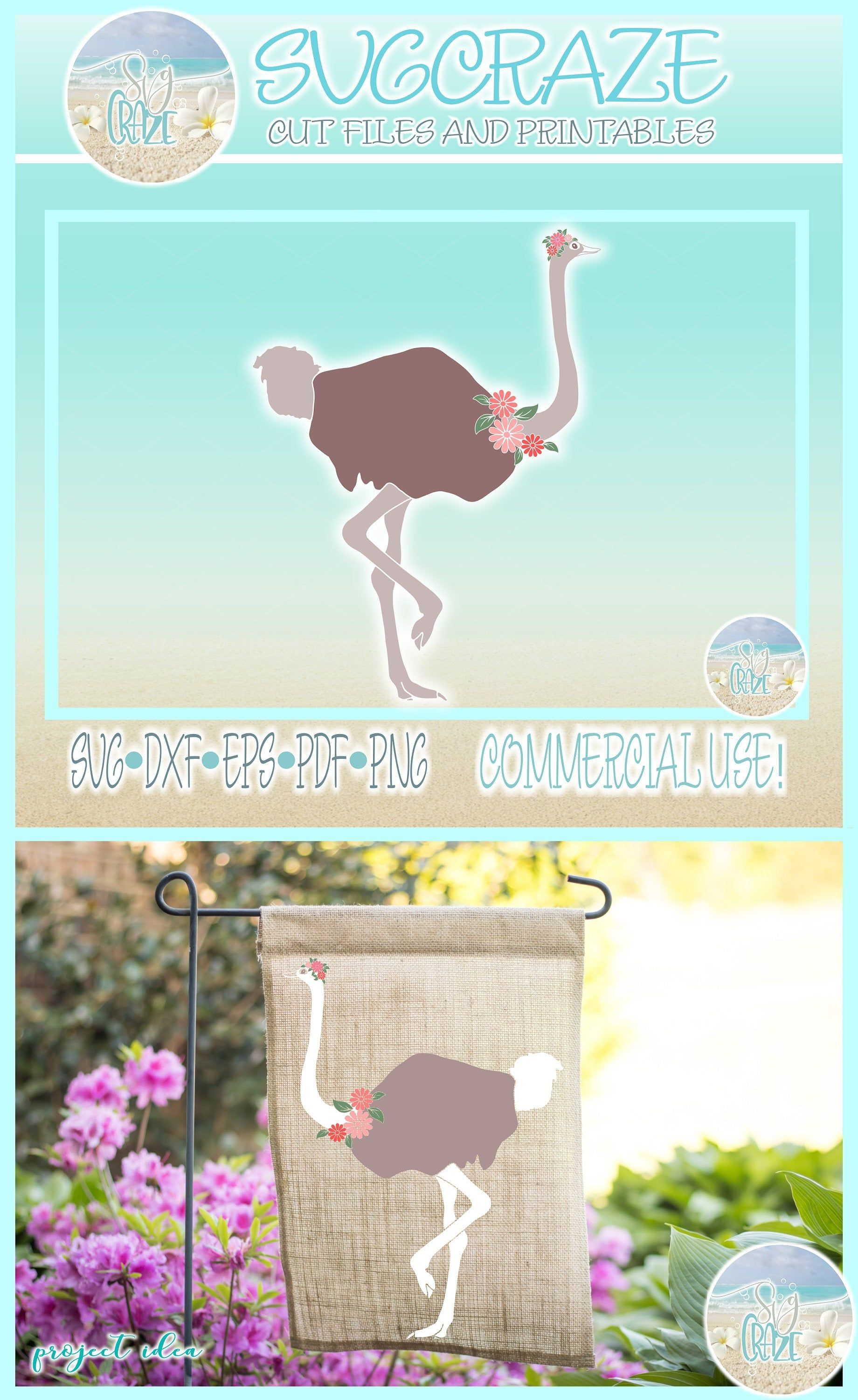 Ostrich with Flowers SVG Dxf Eps Pdf PNG Files for Cricut