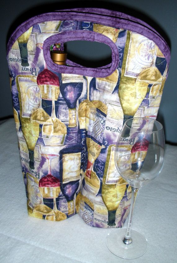 double wine bag  quilted by QuiltingMyWay on Etsy, $18.00