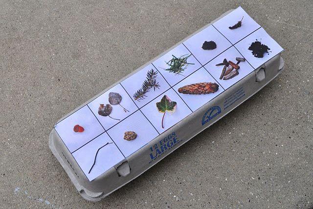 egg carton scavenger hunt... print grid of pics of 12 items kids can ...