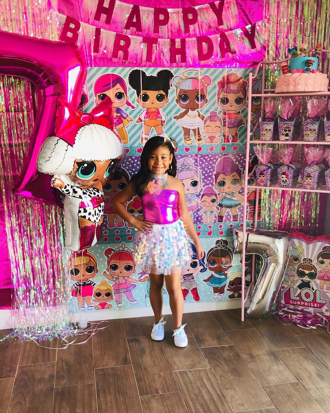 Banner 7th LOL Dolls Party Supplies Balloons Birthday For Girl Set Pink Decor Backdrop Decorations 7