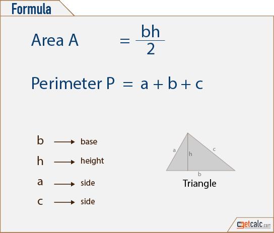 Triangle Formulas Area Perimeter School Projects