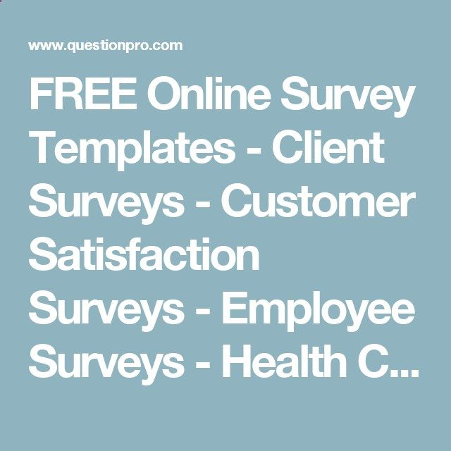 FREE Online Survey Templates - Client Surveys - Customer - free customer satisfaction survey template