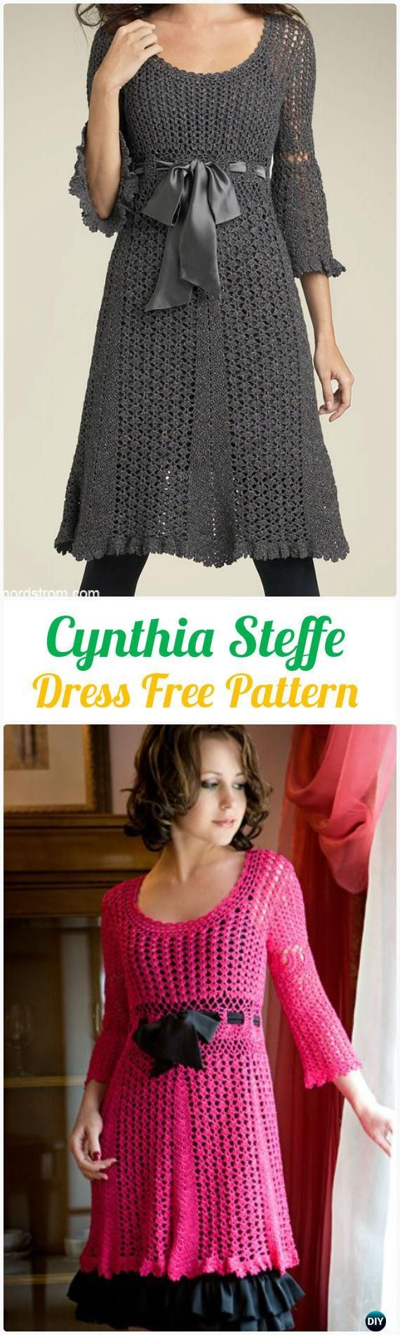 Crochet Women Dress Free Patterns & Instructions   Tejido ...