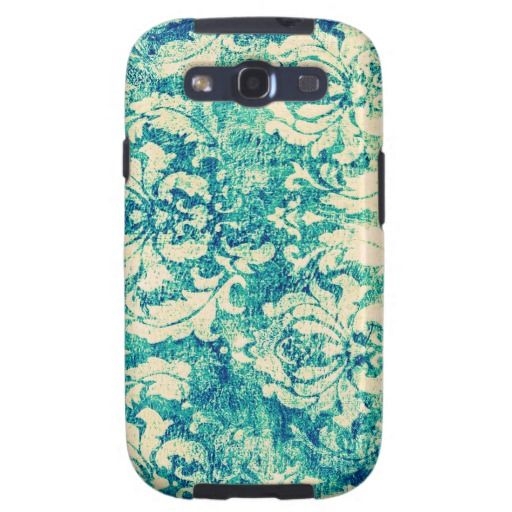 Vintage Blue and Green Damask Pattern Background Galaxy SIII Covers