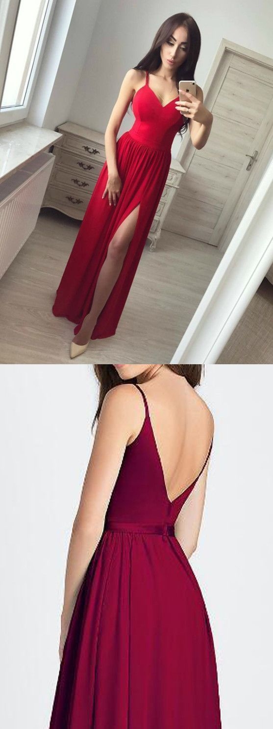 Chic a line red prom dress simple modest elegant cheap long chiffon