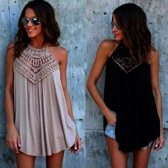 Lace Vest Top Sleeveless Blouse Casual Hollo  eefury Informations About Fashion Women 2018 Summer Lace Vest Top Sleeveless Blouse Casual Hollow Out Tops Shirt Free Shippi...