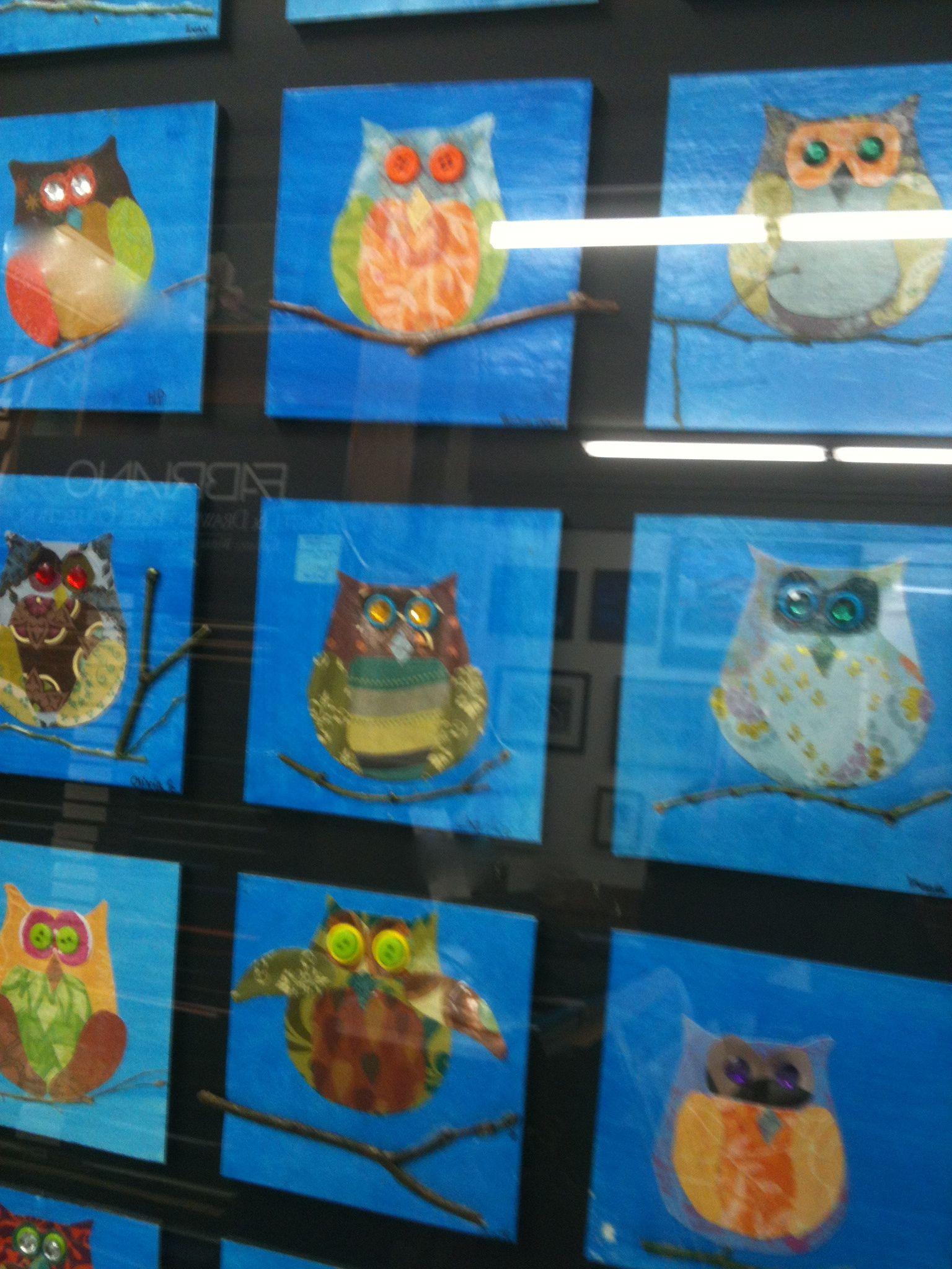 Melina Owl Art Project School Auction Decoupage