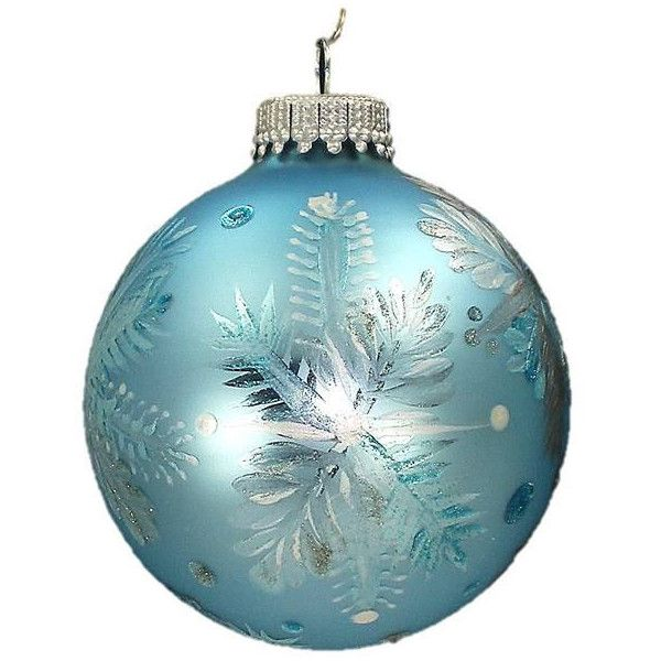 Hand-Painted Christmas Ornaments Set of 3 - Frosty White Silver - blue and silver christmas decorationschristmas tree decorations