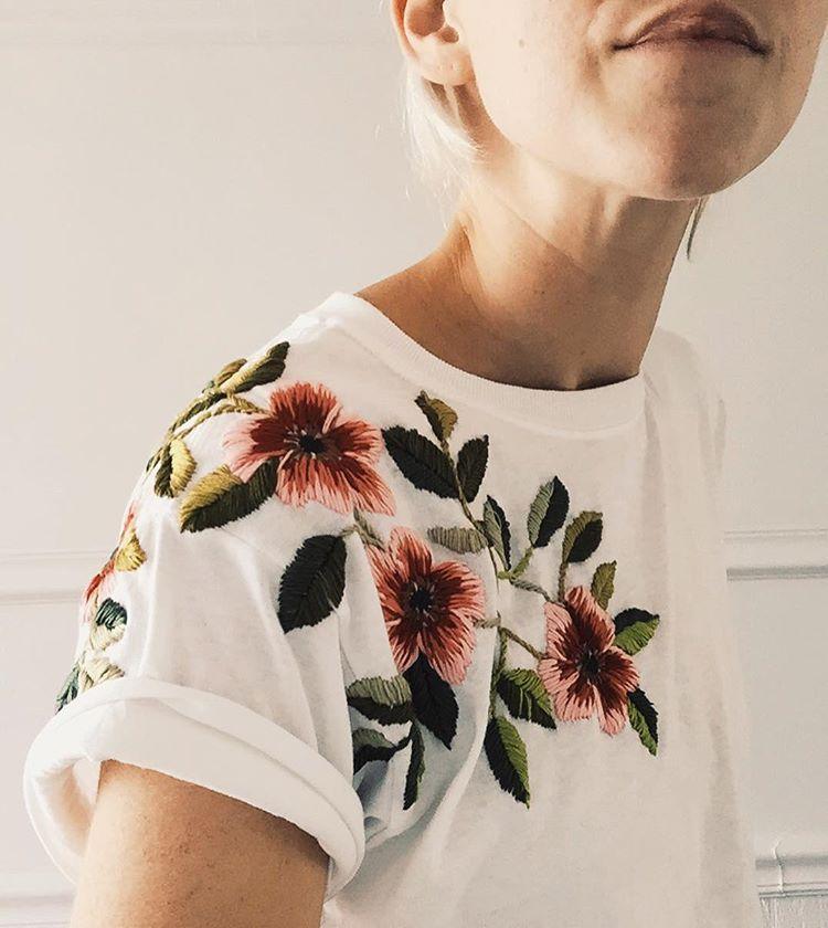 119084857 Floral embroidery My Little Paris, Flower Patch, Tessa Perlow, Silk Ribbon,  Blouse