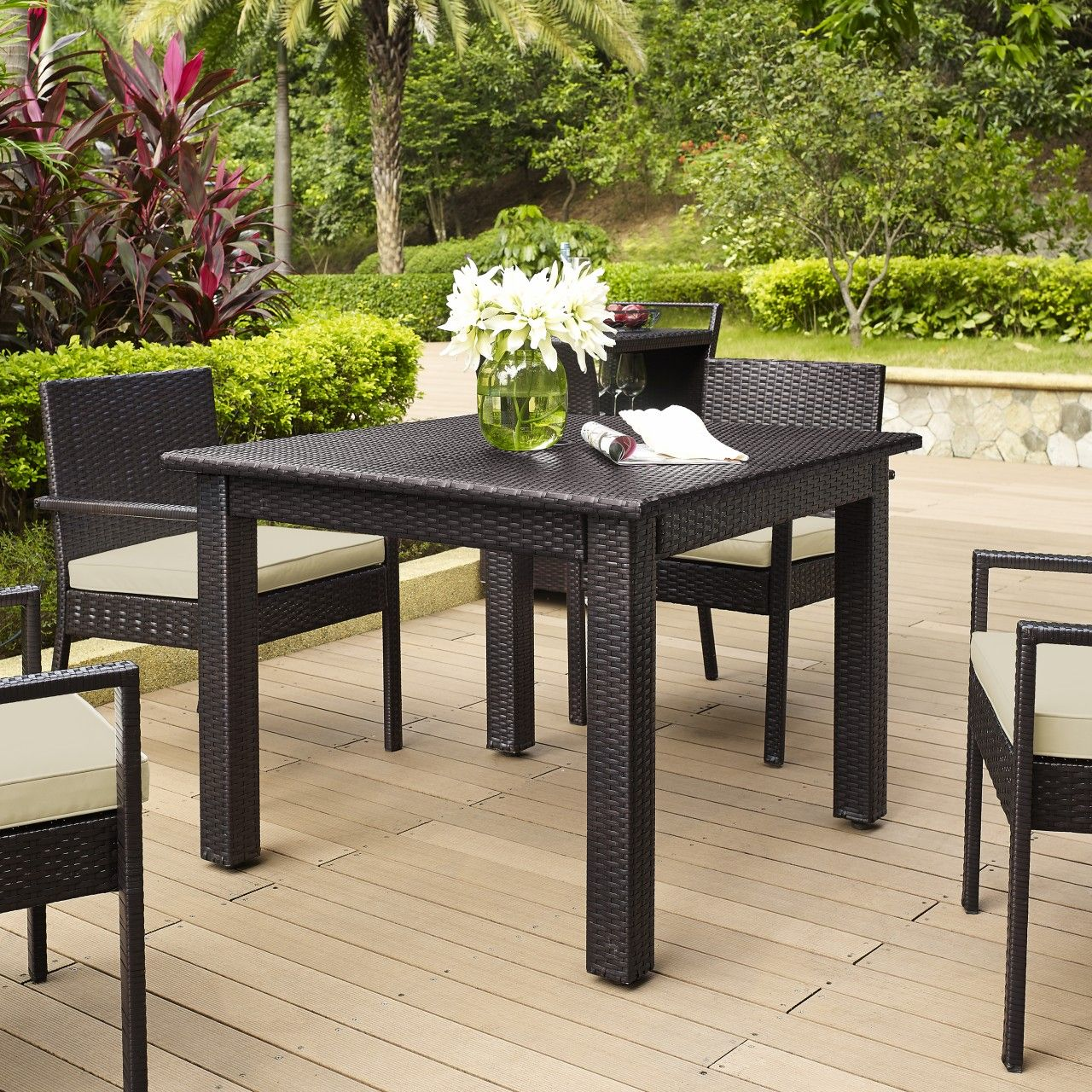 Dine Under The Summer Sun With This Crosley Furniture Palm Harbor Wicker  Square Dining Table.
