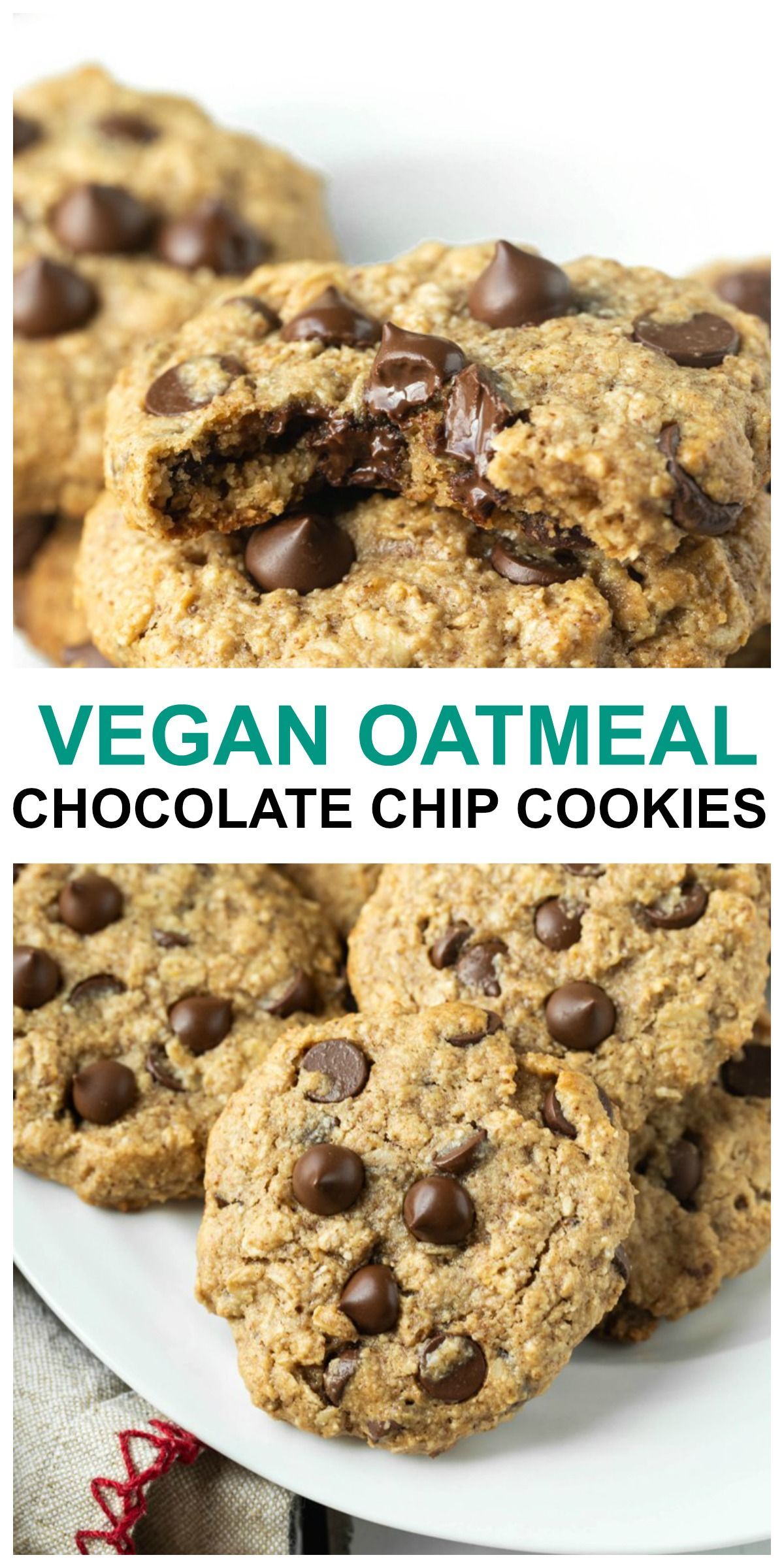 Vegan Oatmeal Chocolate Chip Cookies Gluten Free Recipe In 2020 Oatmeal Chocolate Chip Cookies Vegan Oatmeal Chocolate Chip Cookies Gluten Free Oatmeal Chocolate Chip Cookies