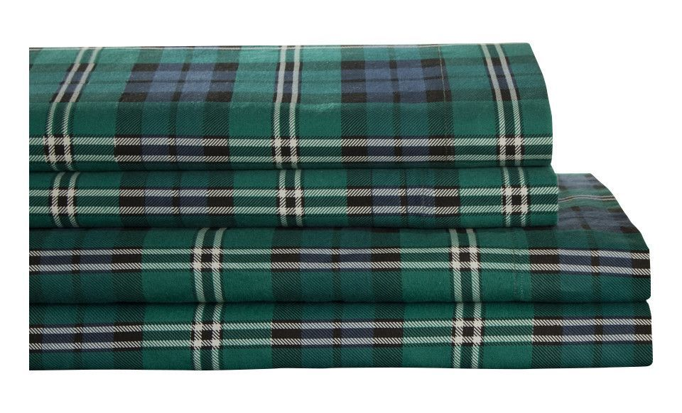 Winter Nights 100% Cotton Flannel Jackson Plaid Sheet Set