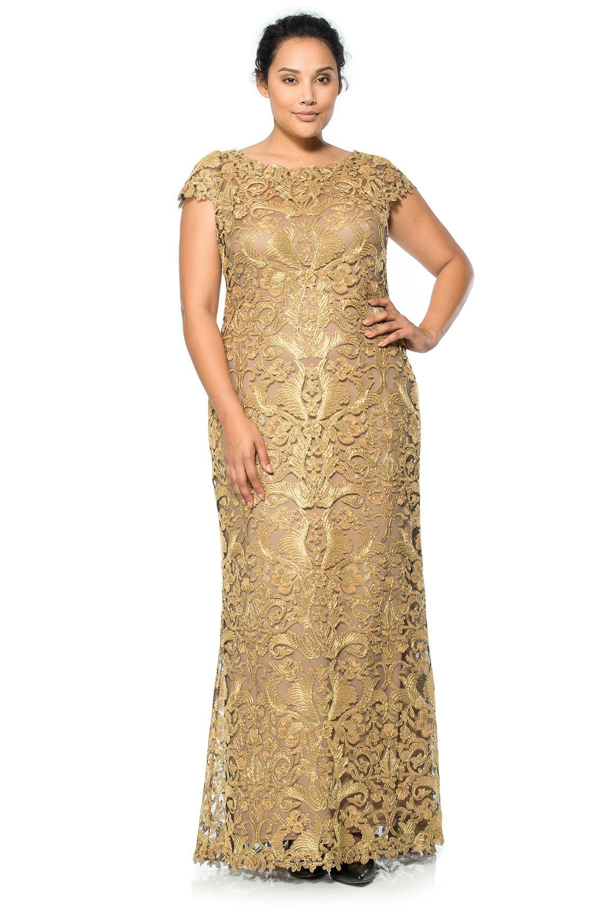 another one! corded embroidery on tulle cap sleeve gown - plus