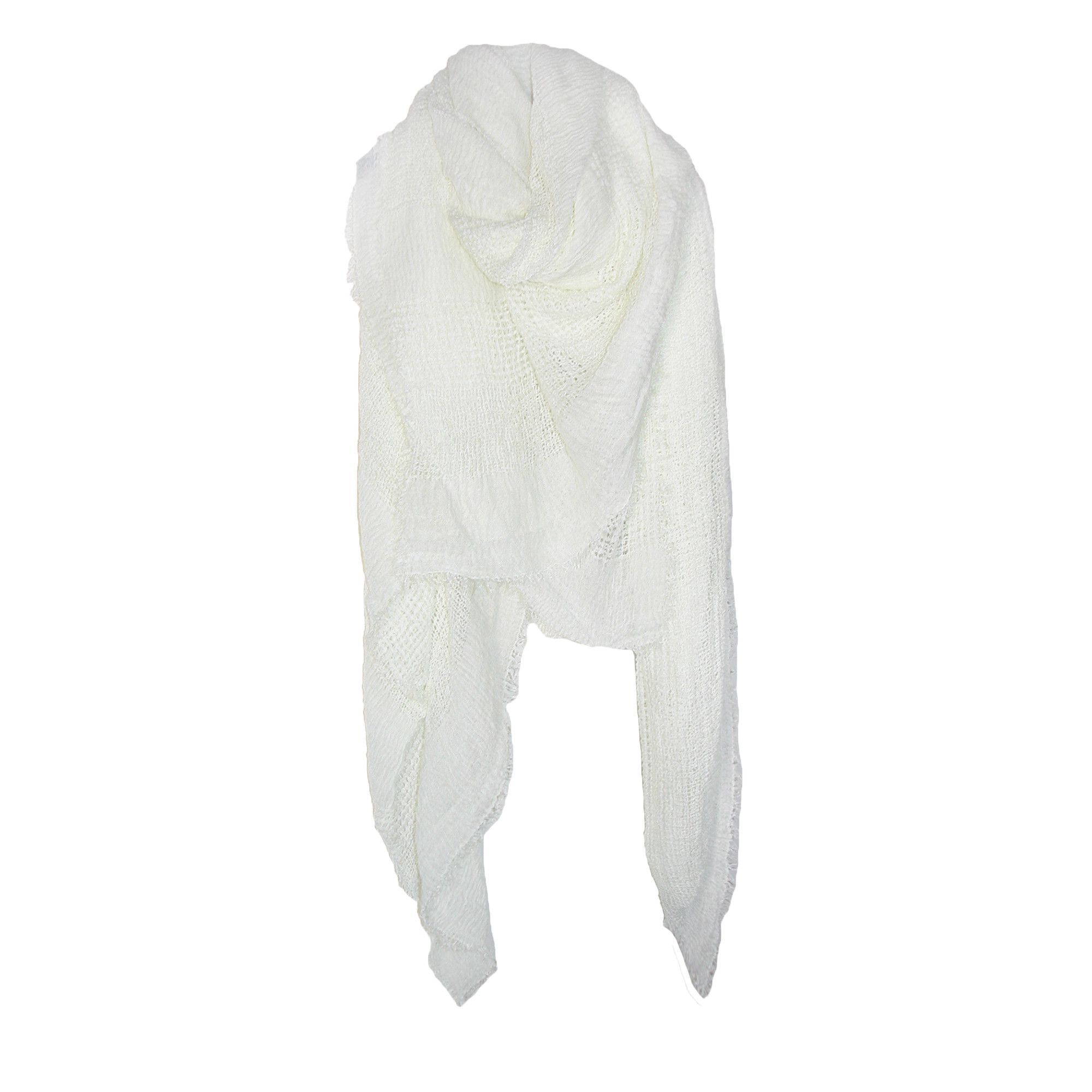 CTM Women's Solid Color Lightweight Mesh Wrap Scarf