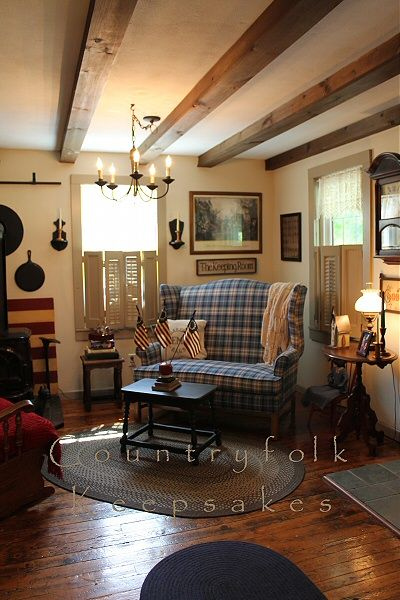 mesmerizing primitive living room decorating | Wall color: Antique White by Behr. Trim color: Stepping ...