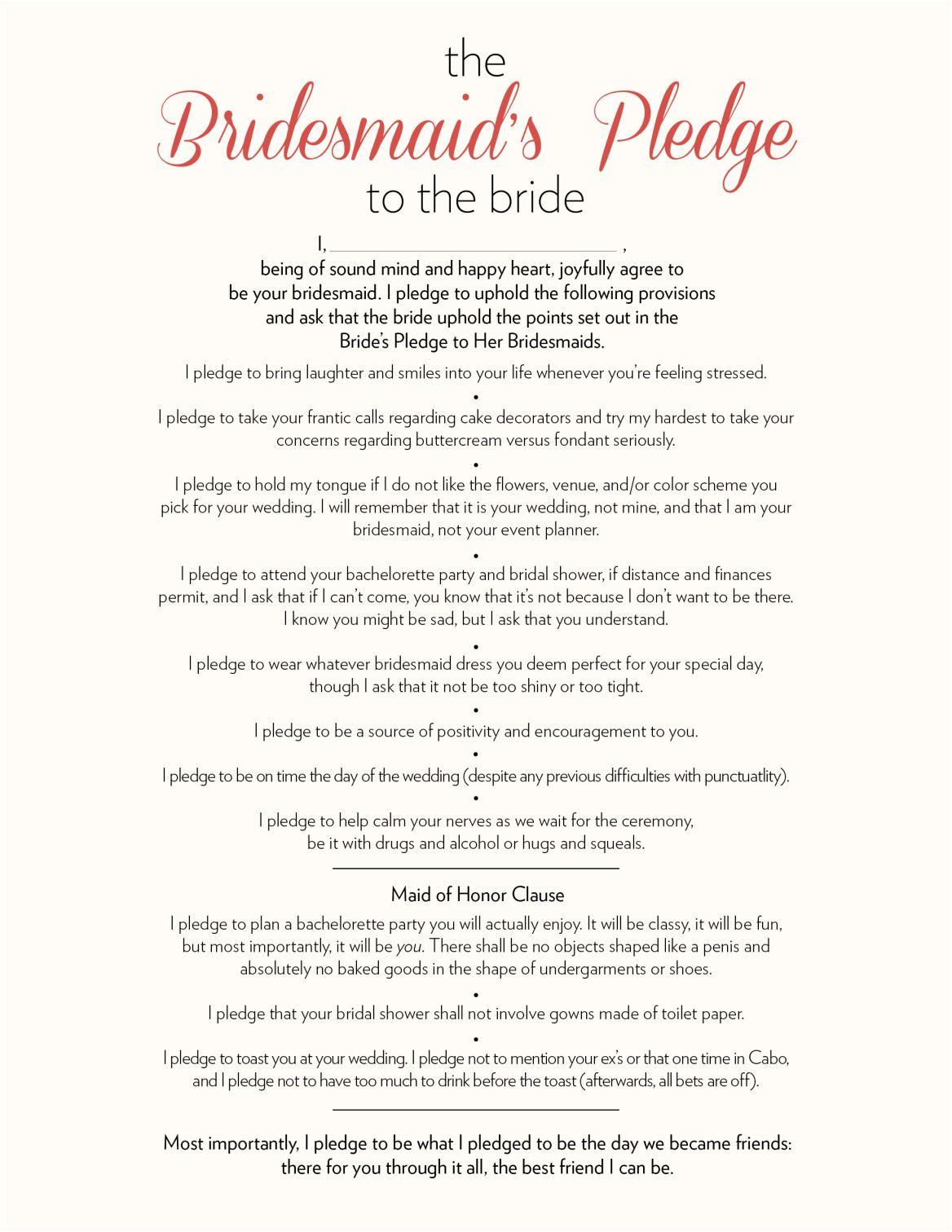 The Bridesmaids Pledge to the Bride | Wedding speech