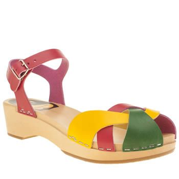 Swedish Hasbeens Womens Multi Multi Leather Sandals Tutti Frutti