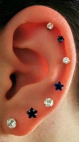 Swarovski Crystal 16g Internally Threaded Flat Back Barbell Piercing All Around Ear Ideas Black Star Cartilage Earring Stud Helix Jewelry