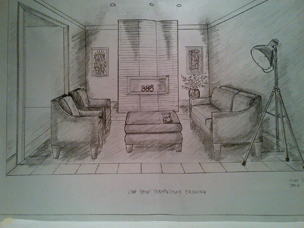 One Point Perspective Drawing Of A Living Room Rendered By Sc