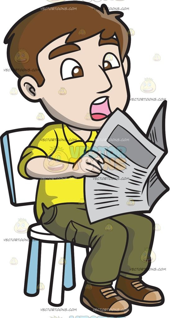 A Shocked Man Reading News From The Newspaper Green Cargo Pants Man Yellow Shirts