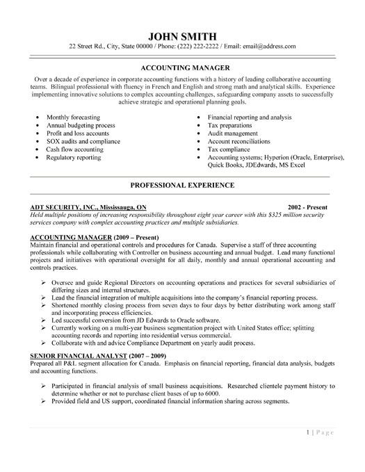 Accounting Resume Examples. Sample Accountant Resume Sample ...
