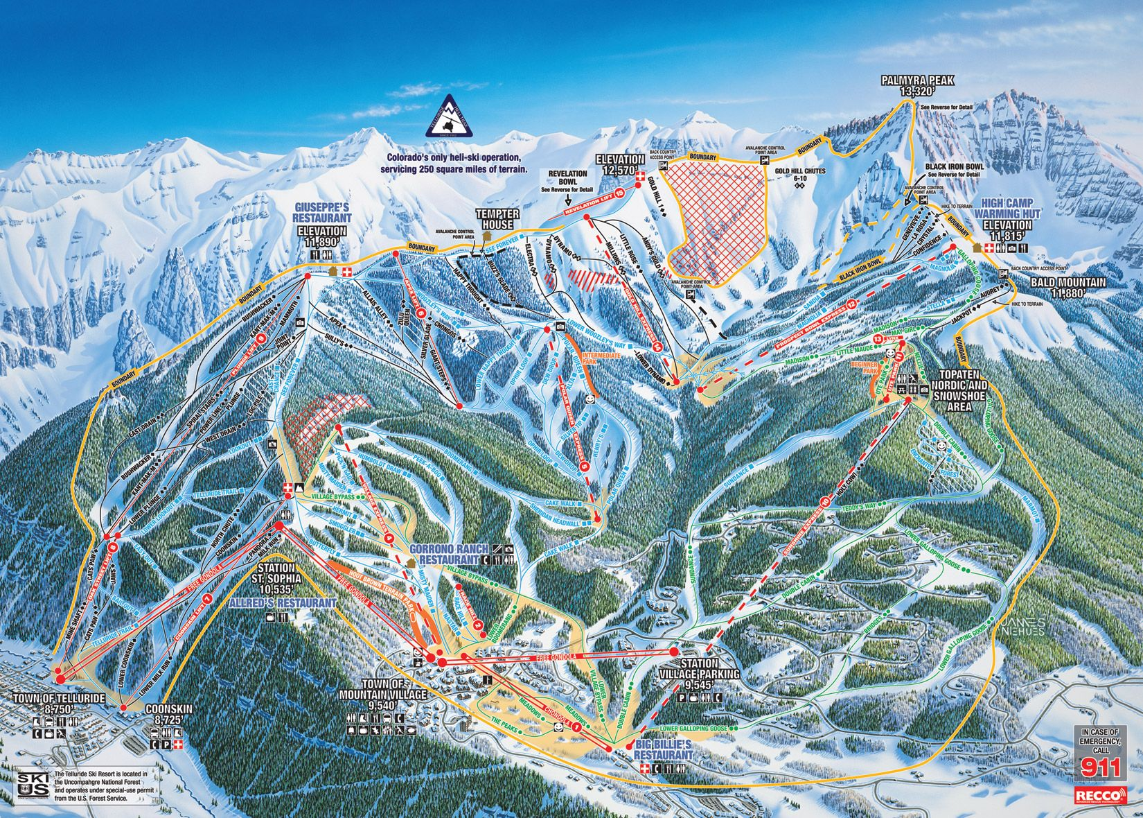 Telluride CO Ski Trails Httpwwwtelluriderentalplacescom - Map of colorado ski resorts and cities