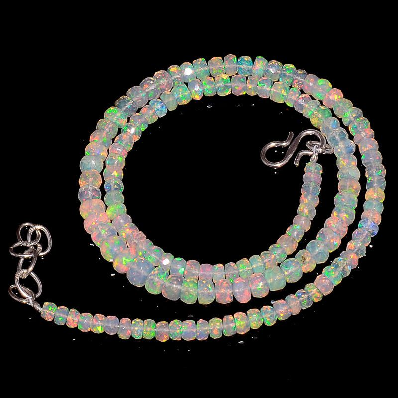 "52CRTS 4to5.5MM 18"" ETHIOPIAN OPAL FACETED RONDELLE BEADS NECKLACE OBI2131 #OPALBEADSINDIA"