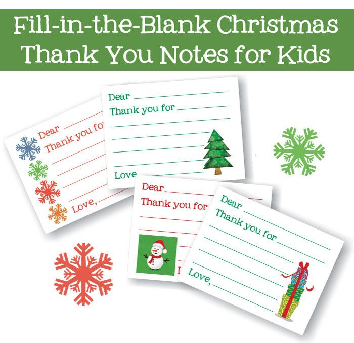 FillInTheBlank Thank You Cards  Days Of Christmas  Free