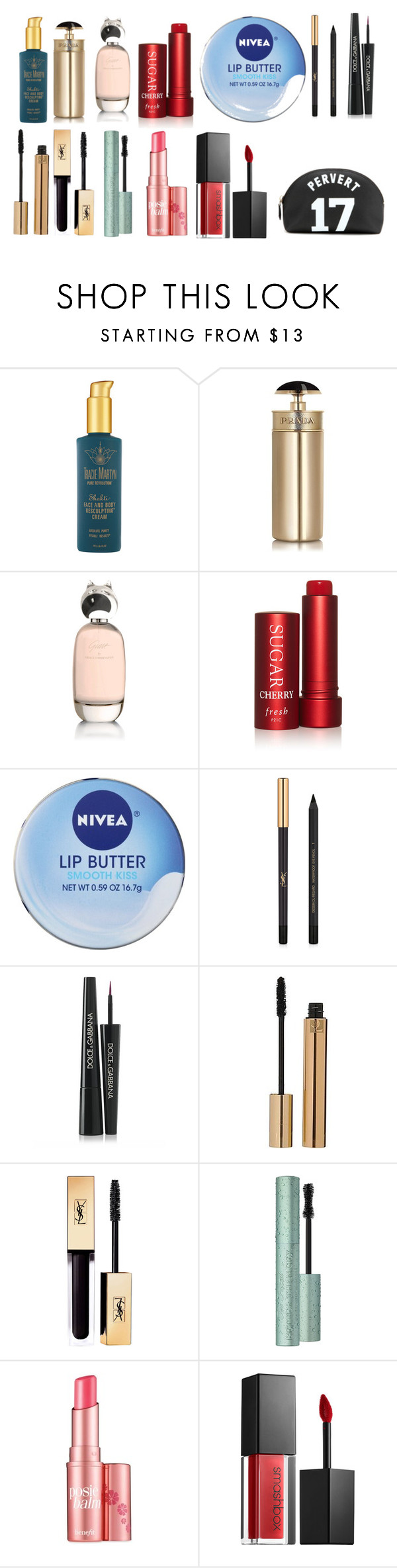 """""""#6"""" by mentarijae on Polyvore featuring Tracie Martyn, Prada, Comme des Garçons, Fresh, Nivea, Yves Saint Laurent, Dolce&Gabbana, Benefit, Smashbox and Givenchy"""
