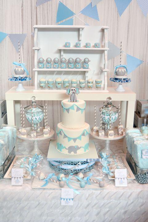 Baby Blue And Gray Elephant Baby Shower Cake Babyshowercake