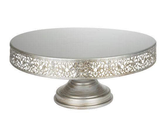 Silver Cake Stand 16 Inch Round Metal Wedding Birthday Modern Antique