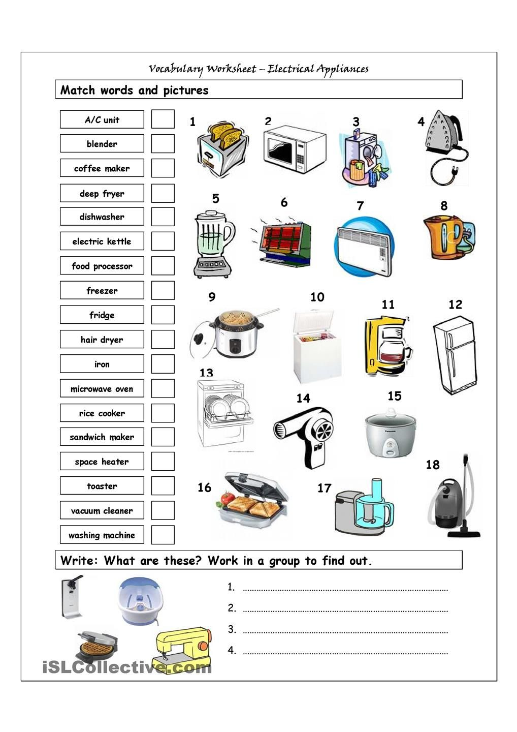Worksheets Esl Vocabulary Worksheets vocabulary matching worksheet home appliances english language containing it has two sections match words and pictures exercise write the