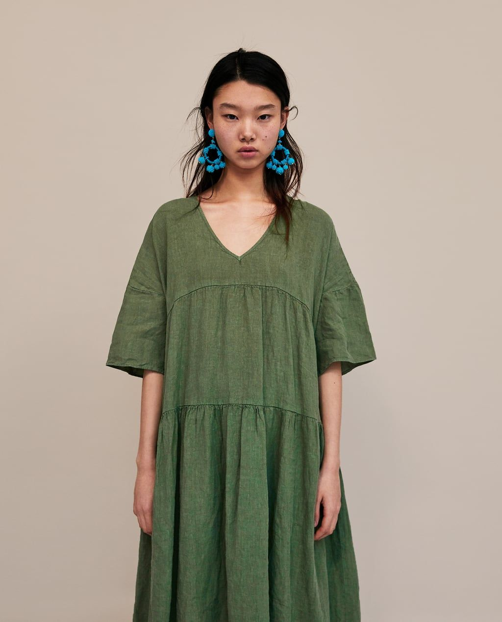 906cab47fc Image 2 of OVERSIZED LINEN DRESS from Zara