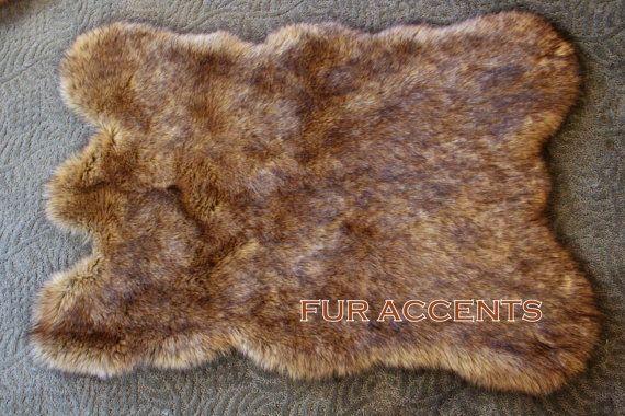 8' Faux Fur Rug WOLF / COYOTE / BEAR  Pelt Accent Rug / Fake SheepSkin  Thick, Plush, Soft, Pelt Accent Rug. warm brown