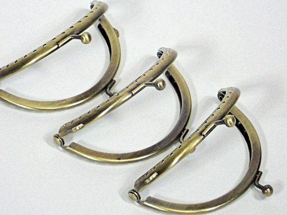 3pc Set of 3.3inch Coin Purse Frames, 8.5cm Bronze Half Round Metal ...